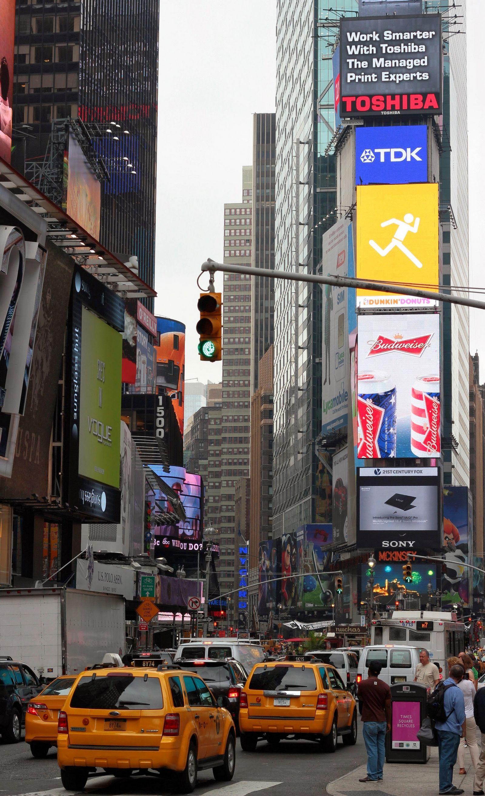¿Taxis? ¿En Times Square? Raro, raro...