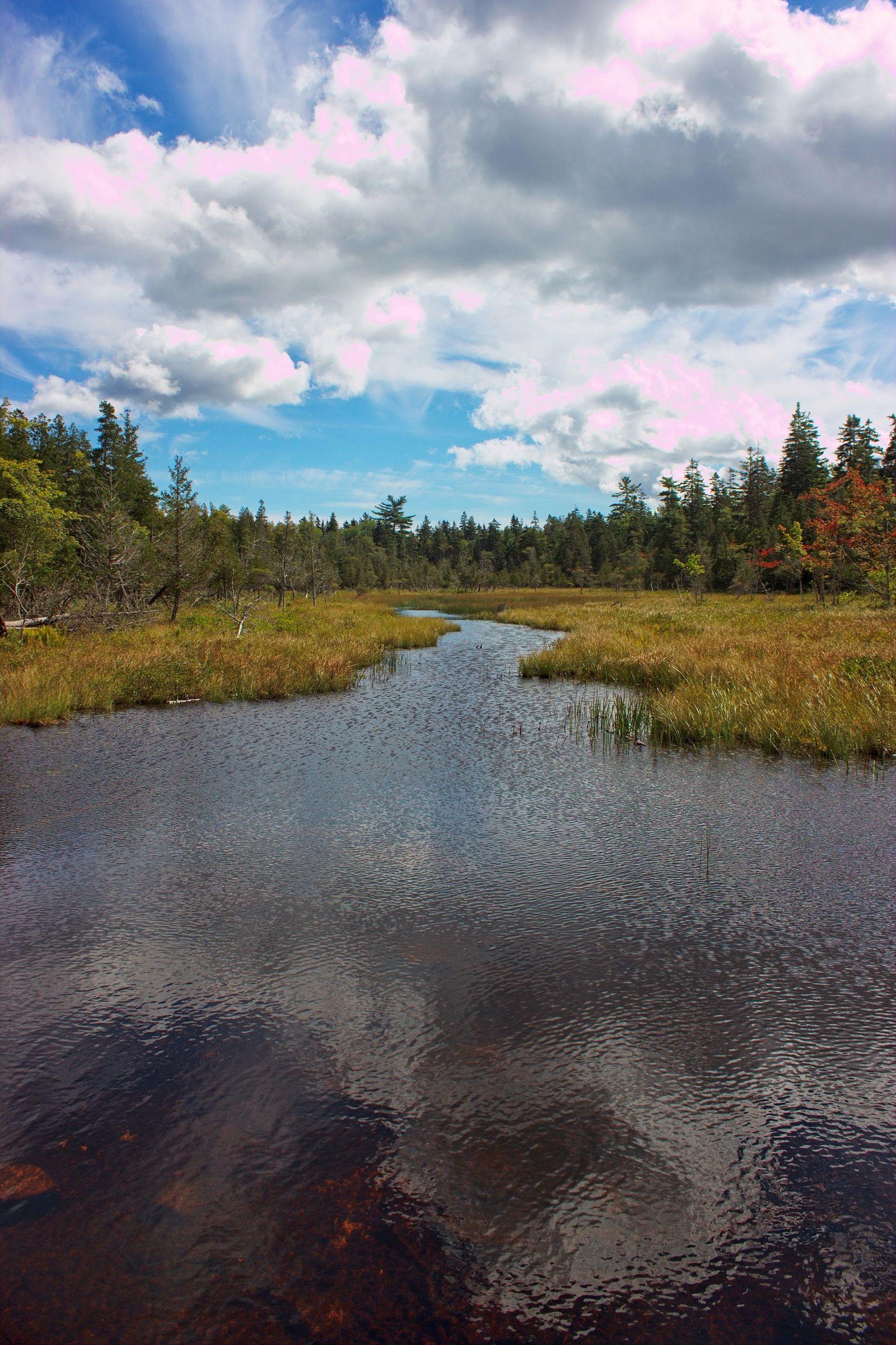 ... cruzando sobre una de las entradas de agua al lago