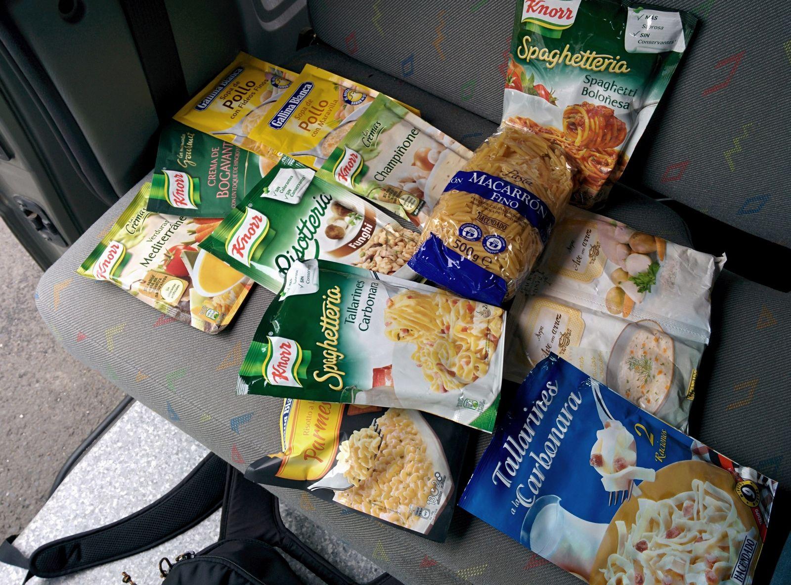 Algunas de las provisiones que llevábamos con nosotros