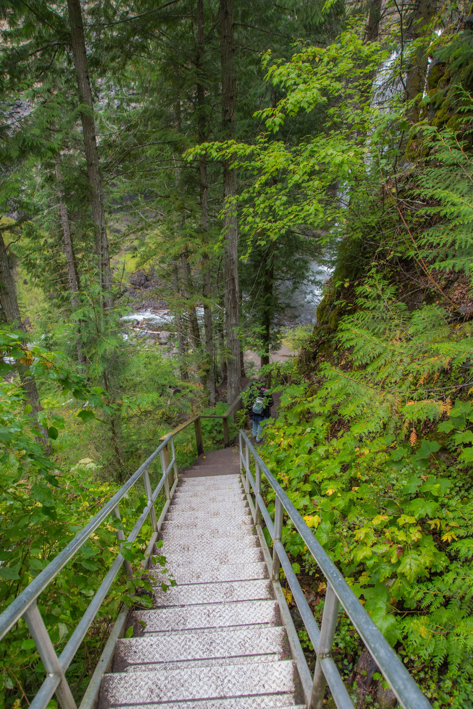 La escalera que lleva a la orilla