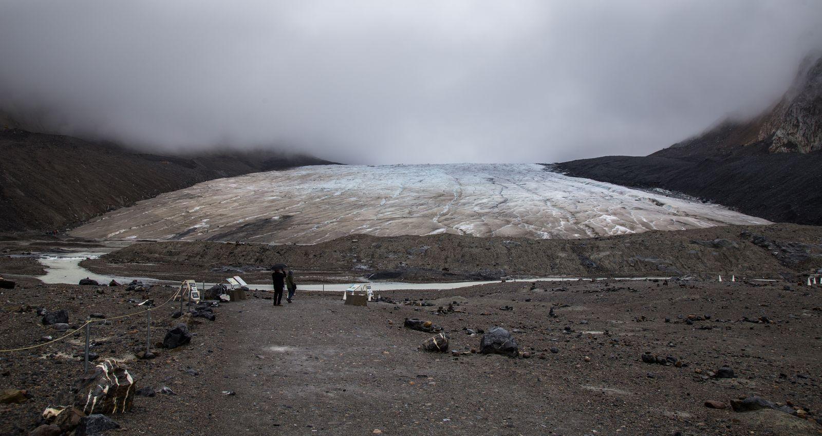 Athabasca Glacier, desmejorado por la meteorología