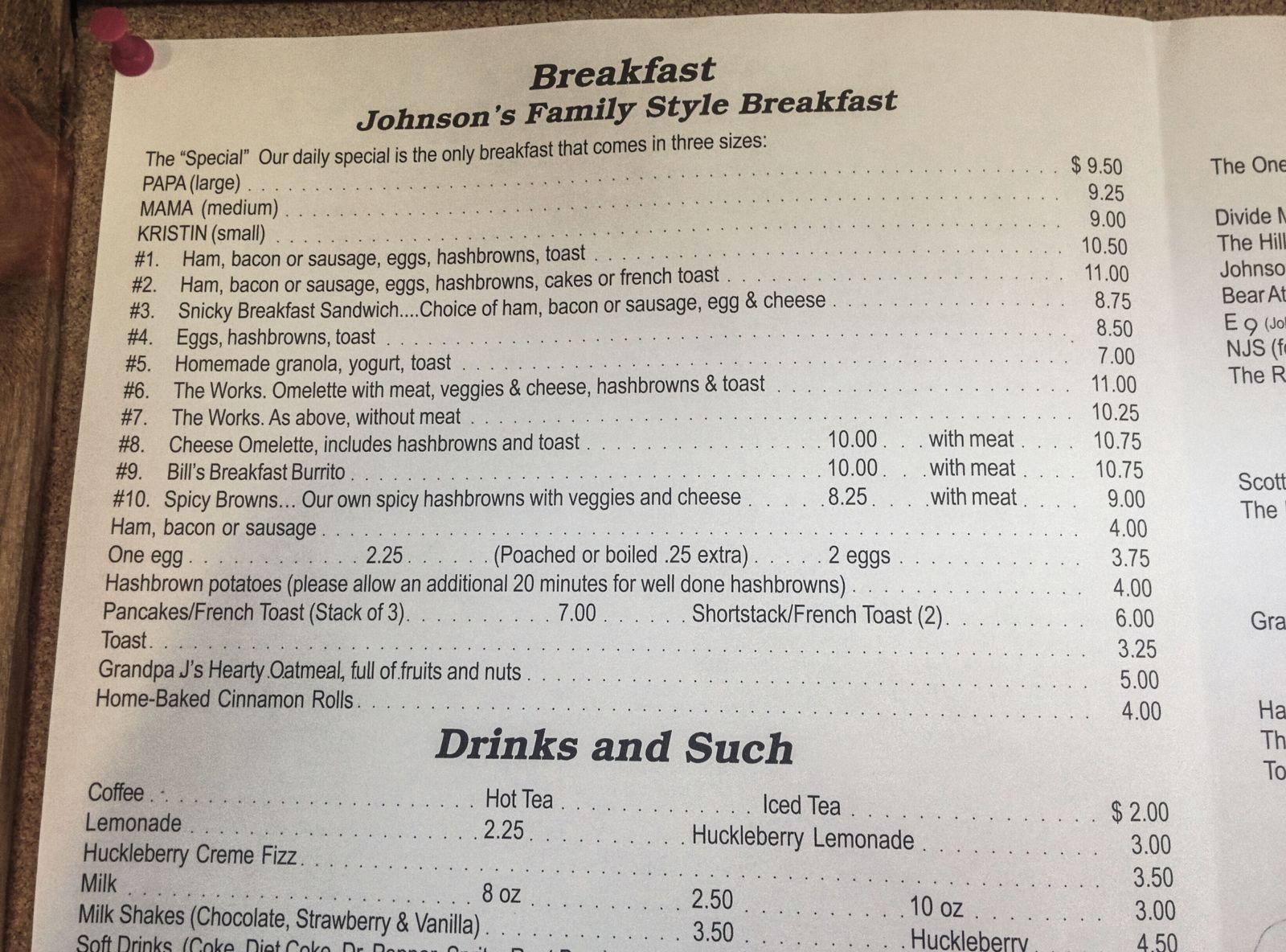 La carta del Johnston Cafe