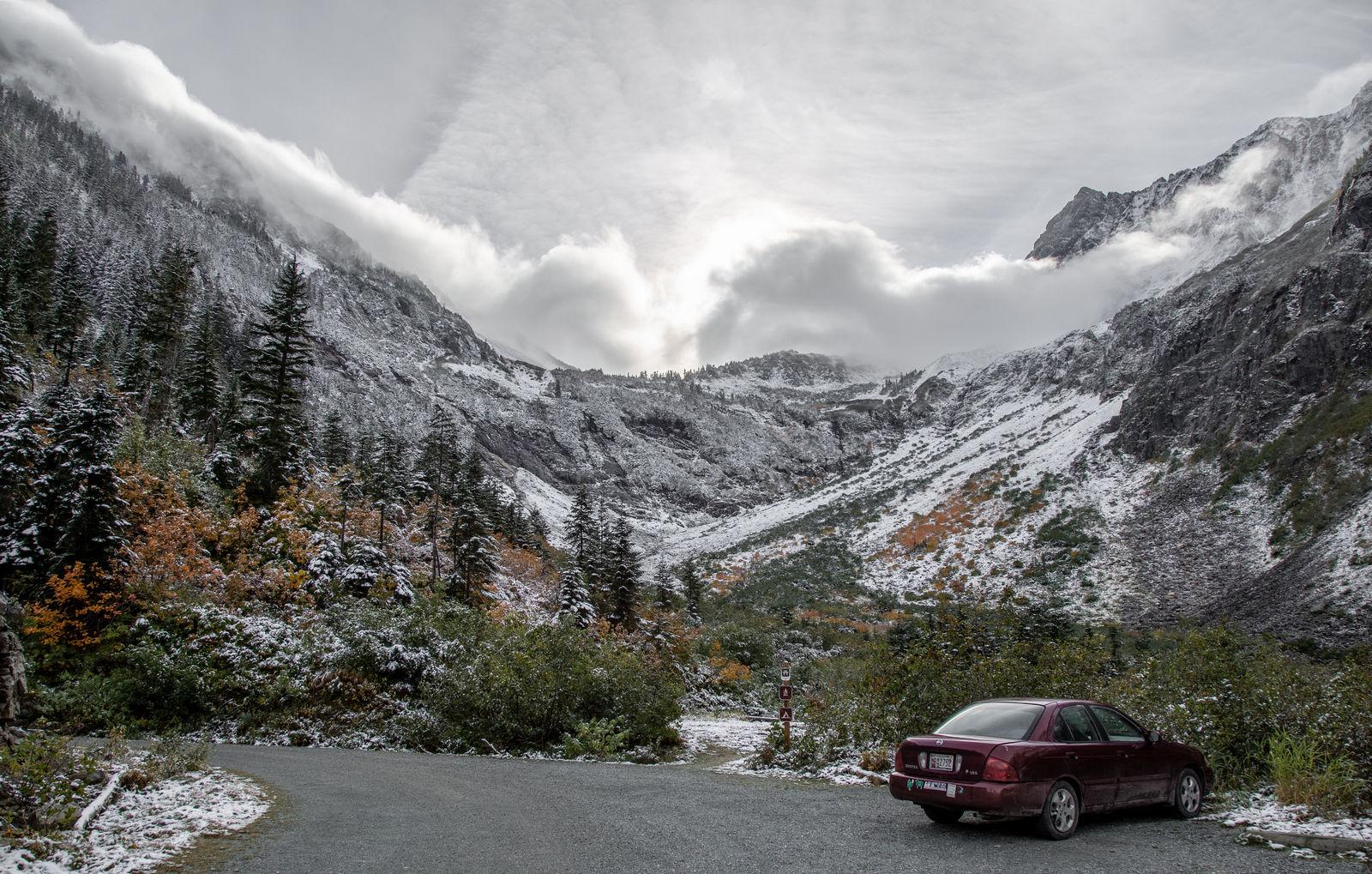 Nieve a la vista desde que salimos del coche